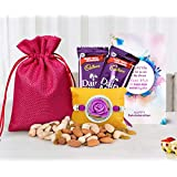 Tied Ribbons Rakhi With Hamper For Brother (Designer Rakhi,Almonds,Cashew,Rasins,2 Dairy Milk Chocolates,Rakhi...
