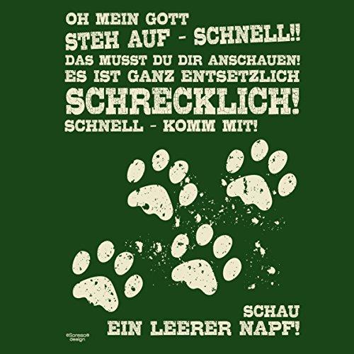 Herren Katzen-T-Shirt für Tier-Freunde als tolle Geschenk-Idee bis Größe 5XL / Print-Katzenmotiv: Leerer Napf Farbe: dunkelgrün Dunkelgrün