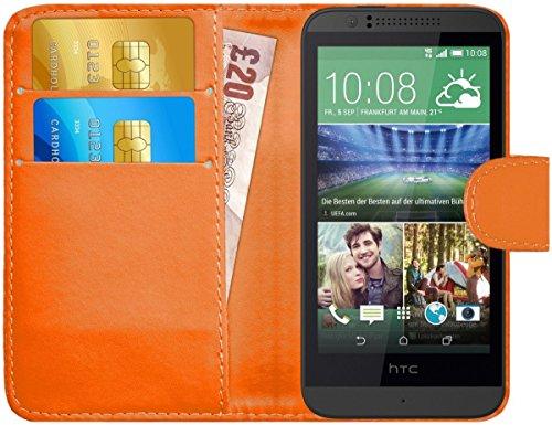 G-Shield Hülle für HTC Desire 510 Klapphülle mit Kartenfach - Orange