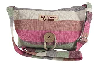 Pink and Cream Striped Cotton Small Shoulder Bag by Bill Brown