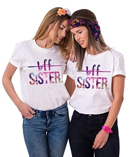 Best Friends Shirts Sister t-Shirt für Zwei Damen Mädchen BFF Friends Shirt Bester Freund Freundin Tshirts Oberteile Sachen für mädchen Sommer Tumblr Tops 2 Stücke(Weiß1,BFF-XS+XS) - Mädchen Kinder Für Sachen