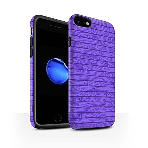 STUFF4 Matte Harten Stoßfest Hülle / Case für Apple iPhone 8 / Beige Muster / Holz-Muster Kollektion Lila