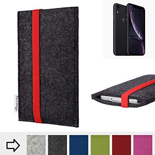 flat.design Handy Hülle Coimbra mit Gummiband-Verschluss für Apple iPhone XR - Schutz Case Smartphone Etui Filz Made in Germany in anthrazit rot - passgenaue Handytasche für Apple iPhone XR