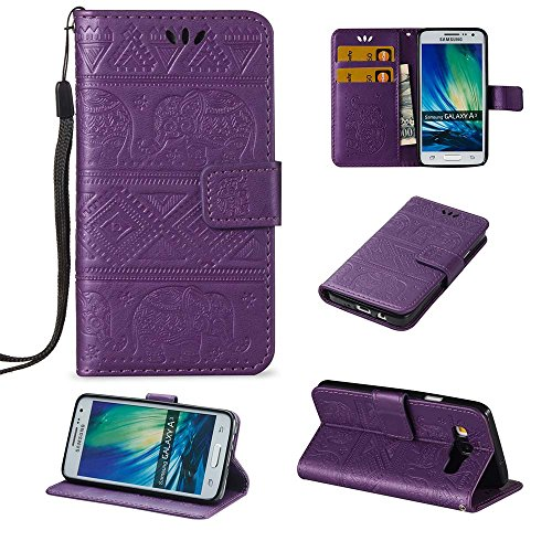 Galaxy A3 Wallet Case, ESSTORE-EU Retro Elephant PU Leather Protective Covers with Card Slot Holder Wallet Case for Samsung Galaxy A3, Purple
