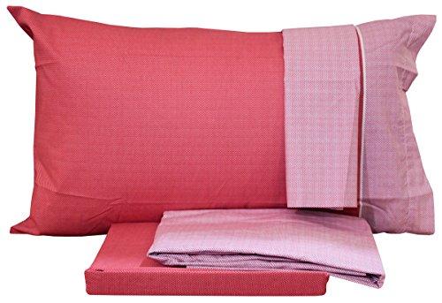 Completo letto singolo lenzuola una 1 piazza bassetti time doppia federa in cotone sotto + sopra + 2 federe (weeny - rosso)