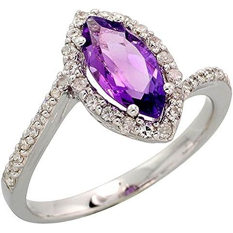 In oro bianco 14 k con anello, w/0,32 kt con diamanti taglio brillante, ct 1,17 & 10 x 5 mm, taglio Marquise, con ametista, 1/(2 5,08 cm (13