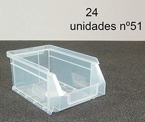 Gaveta apilable 51. Lote de 24 unidades (80hx17x100mm) Transparente