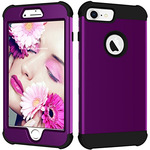ne 7 Case, nokea Heavy Duty 3 in 1 Hybrid stoßfest Hard PC Cover Soft Silikon Gummi Schutzhülle Handy Bumper Schutzhülle für iPhone 8/7//6S/6 11,9 cm, Violett/Schwarz ()