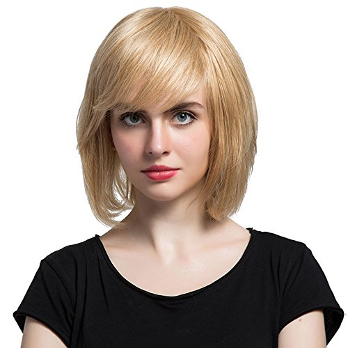 Mufly Damen Perücken 120 Dichte Menschenhaar Echthaar Capless Mischung Bob Perücken Mixed Human Hair Bobo Wig Cosplay Party Fasching Karneval18/613# (2 Weiblich Face Kostüm)