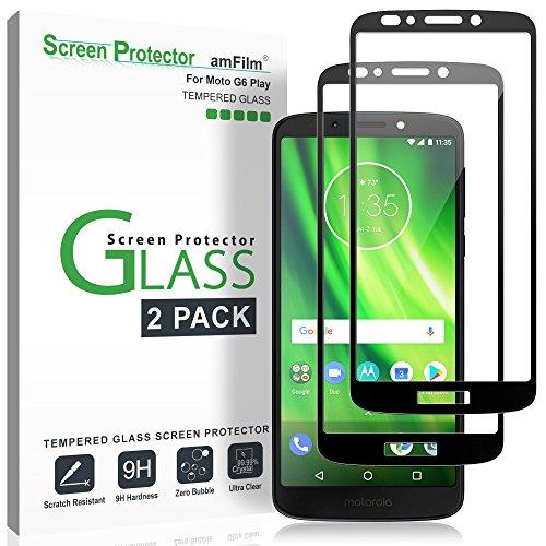 Moto G6 Play Bildschirmschutzfolie Panzerglas (2 Stück), amFilm Vollständige Abdeckung Panzerglas (Gehärtetem Glas) Schutzfolie für Motorola Moto G6 Play (Schwarz)