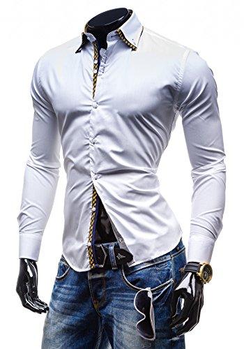 BOLF Herrenhemd Freizeithemd Langarm Slim Fit Figurbetont BY MIRZAD 4708 Weiß