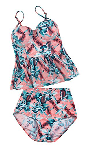 Angerella Damen Vintage Retro Floral Print Ruffles Tankini Oben Schlanke Taille Bikini Set - 4