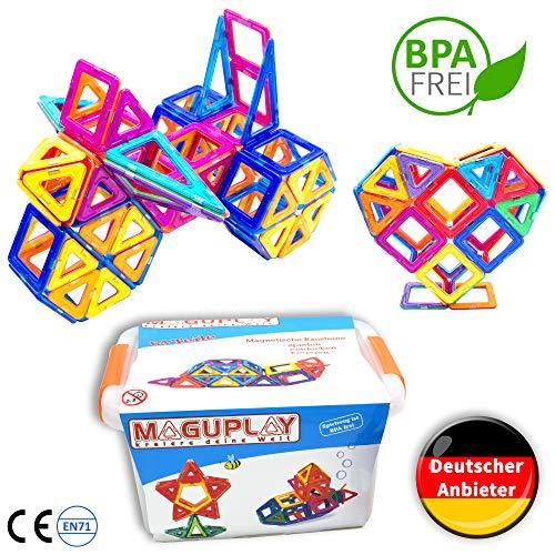 Bausteine | 64 XXL Premium Magnetbausteine in Clipbox | Magnetspielzeug für Kinder ab 3 Jahren | Magnet Spiel mit großen Bausteinen ()
