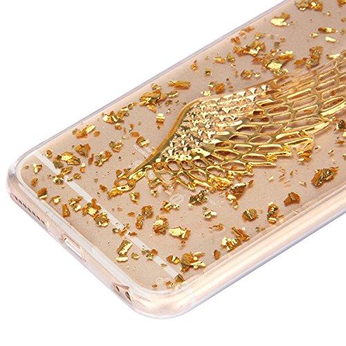 iPhone 6 Plus Hülle,iPhone 6s Plus Case,iPhone 6 Plus Bling Case - Felfy Ultradünne Transparent Gel TPU Silikon Diamond Skin Bling Glitte Kristall Schutzfolie Glitzer Silber Silikon Crystal Case Durch Golden Case Flügel