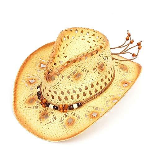 Perlen Cowgirl Hut (VISER 2019 Unisex italienischen Stil Retro natürlichen Stroh Cowboy Cowgirl Hut mit Perlen Trim atmungsaktive Visier formbare Krempe Cowboy westlichen australischen Stil Sommer Strand Sonnenhut modern)