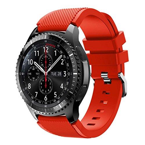 Fulltime® Sport Silikon Armband Armbanduhr Armband für Samsung Gear S3 Frontier Smartwatch mit klassischen Gürtelschnalle, 140-250mm x 22mm (Rot)