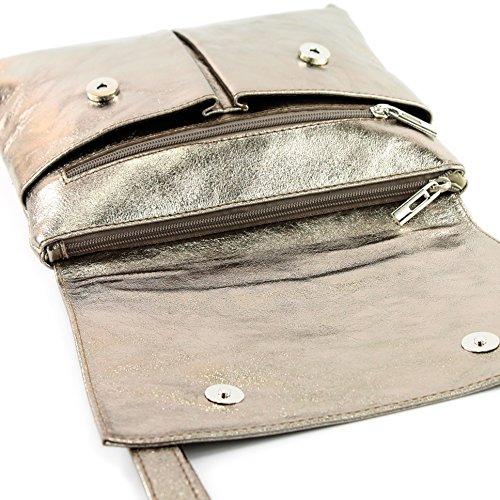 Sac à bandoulière italien Messenger sac à bandoulière femme cuir véritable T63 Altgold