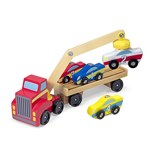 Melissa & Doug Magnetic Car Loader Wooden Toy Set with 4 Cars and 1 Semi Trailer Truck, Multi Color