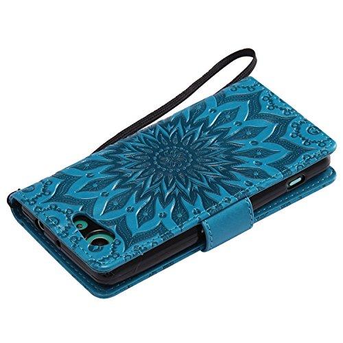 ISAKEN Custodia Xperia Z3 Mini, Elegante Sbalzato Embossed Flip Cover per Sony Xperia Z3 MINI Sintetica Ecopelle PU Pelle Case Cover Protettiva Wallet Portafoglio Case Cover Protezione Caso con Suppor girasole: blu