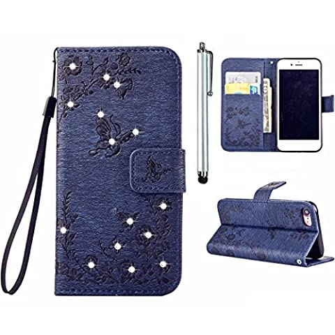 Samsung Galaxy S7 Edge Diamond Wallet Case, MUTOUREN Magnetic Snap PU Leather Wallet Cover [Free Metal Stylus Pen] Bling Glitter Rhinestone Hybrid Silicone Rubber Gel Back Bumper Anti Scratch Shockproof Protective Shell - Flower and Butterfly, Dark