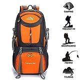 Gohyo Sac à Dos Randonnée 60L Backpack Trekking Rucksack Léger Etanche pour Voyage Escalade Camping Alpinisme Orange