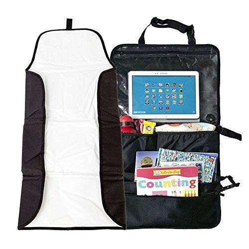 Preisvergleich Produktbild EXTRA GROSSER Baby Wickelmatte für die Reise mit Tablet / iPad AUTOSITZ-ORGANIZER