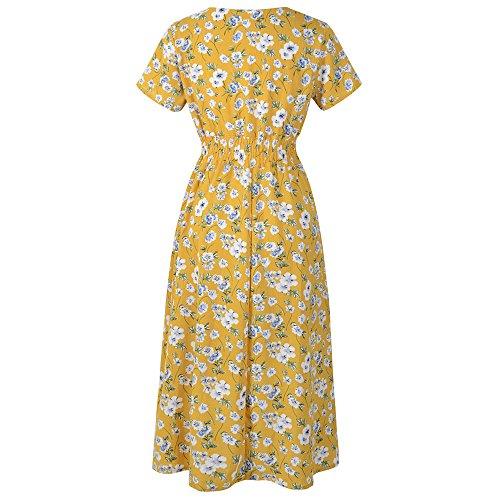 Kostüm Mottoparty Urlaub - TianWlio Strandkleid Sommerkleid Langes Kleid Partykleid Damen V-Ausschnitt Urlaub Blumendruck Kleid Damen Sommer Beach Party Kleid