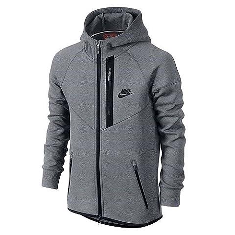 Nike Windrunner Fleece Windrunner YTH Sweat-shirt Garçon M Gris / Negro (CARBON HEATHER/OBSIDIAN/OBSIDIAN)