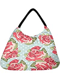 Snoogg Beautiful Seamless Rose Pattern With Blue Polka Dot Background Beach Tote Shopper Bag Handbag Shoulder