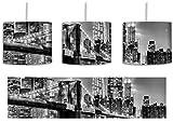 Monocrome, New York City, Skyline bei Nacht inkl. Lampenfassung E27, Lampe mit Motivdruck, tolle Deckenlampe, Hängelampe, Pendelleuchte - Durchmesser 30cm - Dekoration mit Licht ideal für Wohnzimmer, Kinderzimmer, Schlafzimmer