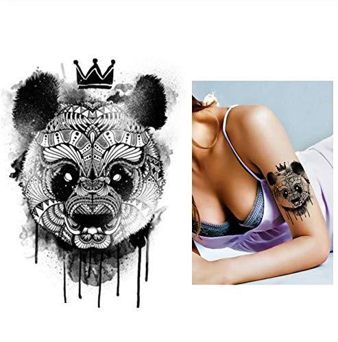 ruofengpuzi Schwarz Applique wasserdicht Tattoo Panda King Muster Aufkleber Design Coole Frau Mann inspiriert Body Art temporäre Tätowierung