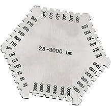 MagiDeal Precisión Peine Película Húmeda Hexagonal 25-3000um Manómetro de Acero Inoxidable