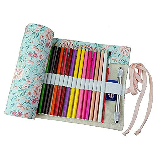 Carry stone Stift Bleistift Taschen Schreibwaren Fall Leinwand Bleistifte Roll Pouch Fall halten für 36 Buntstifte langlebig und praktisch -