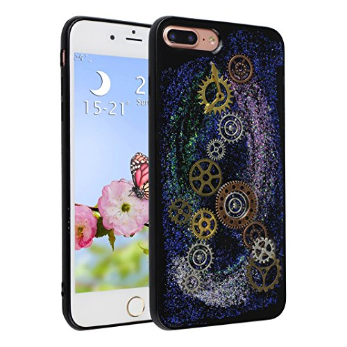 Strane Custodia Per iPhone 7 Plus, Asnlove Bling Soft Silicone Ingranaggio Goffratura Cover Glitter Nero TPU Luccichio Caso Embossed Modello Gear Cassa Antiurto Case Bumper Per iPhone 7 Plus - Stile 1 Stile 2