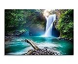 Wandbild 120x80cm Landschaftsfotografie – Wasserfall im Regenwald auf Leinwand für Wohnzimmer, Büro, Schlafzimmer, Ferienwohnung u.v.m. Gestochen scharf in Top Qualität