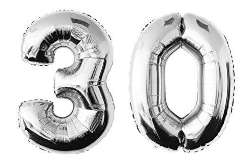 allon Zahlenluftballon in der Farbe silber Heliumballon Riesenzahl Luftballon Party Kindergeburtstag Geburtstag Deko ca.100 cm (30 - Silber) (30. Geburtstag Party-ideen Für Ihr)