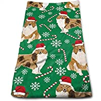 ewtretr Toallas De Mano,Rough Collie Christmas Holiday Cool Towel Beach Towel Instant Gym Quick