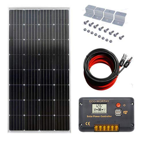 ECOWORTHY 150 W 12 V Off Grid System:150 W Mono Solar Panel + 20 A Battery Charge Controller with USB Port LCD Screen+ 5 m Cable with MC4 Connector + Z Supports for RV Tent Boat 150w Solar-panel