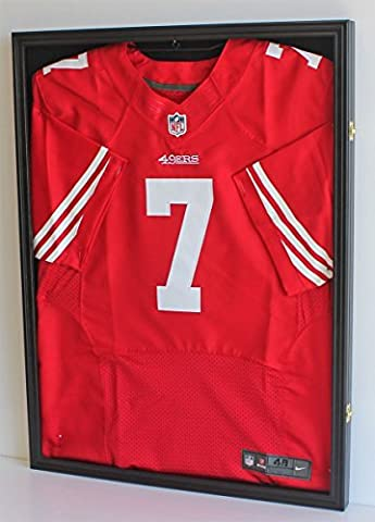 Football/Baseball Jersey Display Case Frame Shadow box with ULTRA CLEAR 98% UV Protection, Black Finish (JC01--BL) by DisplayGifts