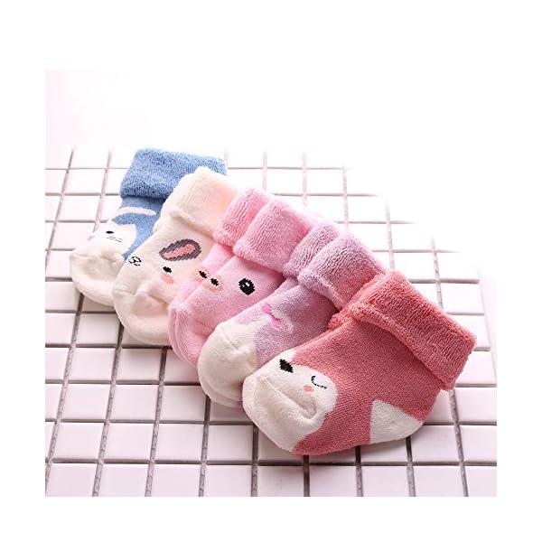 Sweetneed 5 Pares Calcetines Recien Nacido niño Calcetines de recién nacido Calcetines bebe niña Invierno 0-36 Meses 2