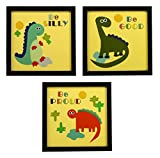 #5: INDIANARA 3 PIECE SET OF MOTIVATIONAL FUNNY KIDS ROOM DÉCOR FRAMED WALL HANGING ART PRINTS 8.7 INCH X 8.7 INCH WITHOUT GLASS