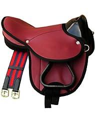 Frange De Selle Shetty Little Billy, Kit complet aussi Kit selle pour chevaux de bois–Couleur: Rouge pour poney ou ou Shetty bois cheval