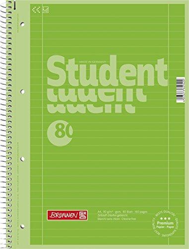 Brunnen 1067927152 Notizblock / Collegeblock Student Colour Code (A4 liniert, Lineatur 27, 90 g/m², 80 Blatt) grün - Block