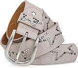 styleBREAKER Nietengürtel mit dezentem Stern Nieten Design und Schlangen Print im Vintage Look, kürzbar, Unisex 03010054, Farbe:Hellgrau;Größe:90cm