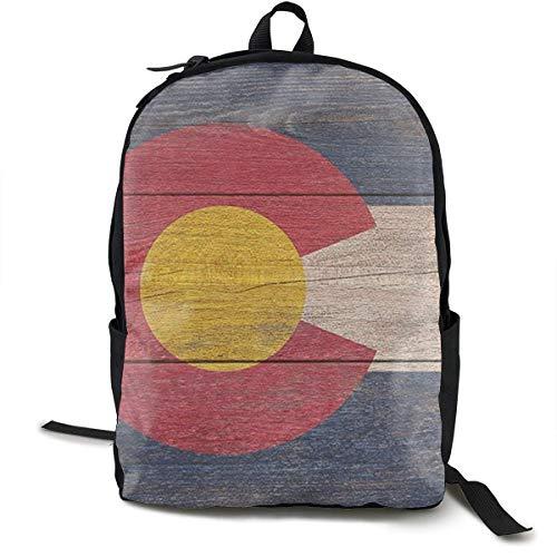 Lässige Rucksack große Kapazität Anti-Diebstahl-Mehrzweck-Umhängetasche Rucksack für die Arbeit im Fitnessstudio Fahrrad - rustikale Colorado State Flag, Jungen Mädchen Student Geschenk, Reisen W -