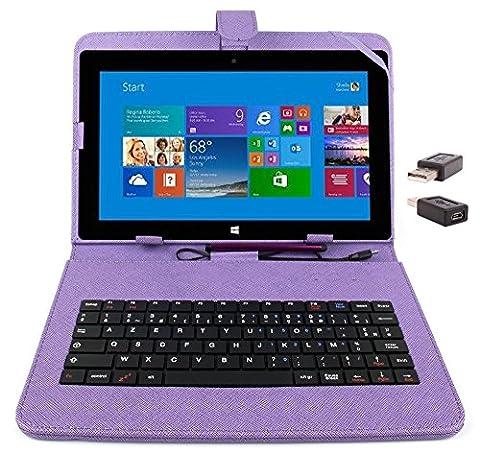 Etui aspect cuir violet avec clavier intégré AZERTY (français) pour Microsoft Surface Pro et RT 1 et 2 tablettes 10,6