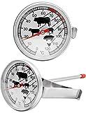 HOMETOOLS.EU® – Hitze-beständiges analoges Thermometer | zur Kochen, Braten, Grillen, Räuchern | Halterung für Topf, Grill, Bräter | 0°C - 120 °C