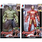 GRAPPLE DEALS Combo Of 2 Avengers Action Figure Toy For Kids. (Hulk-IronMan)