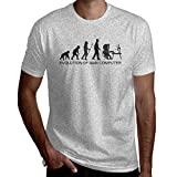 T-Shirt Manches Courtes pour Hommes Evolution of Man T-Shirt imprimé par Ordinateur Vêtements de Travail T-Shirt d'extérieur T-Shirt en Coton