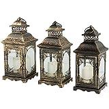 AHDECOR Bougeoir décoratif Vintage Lanterne en métal avec bougie pilier LED pour la suspension intérieure en plein air - Set de 3...
